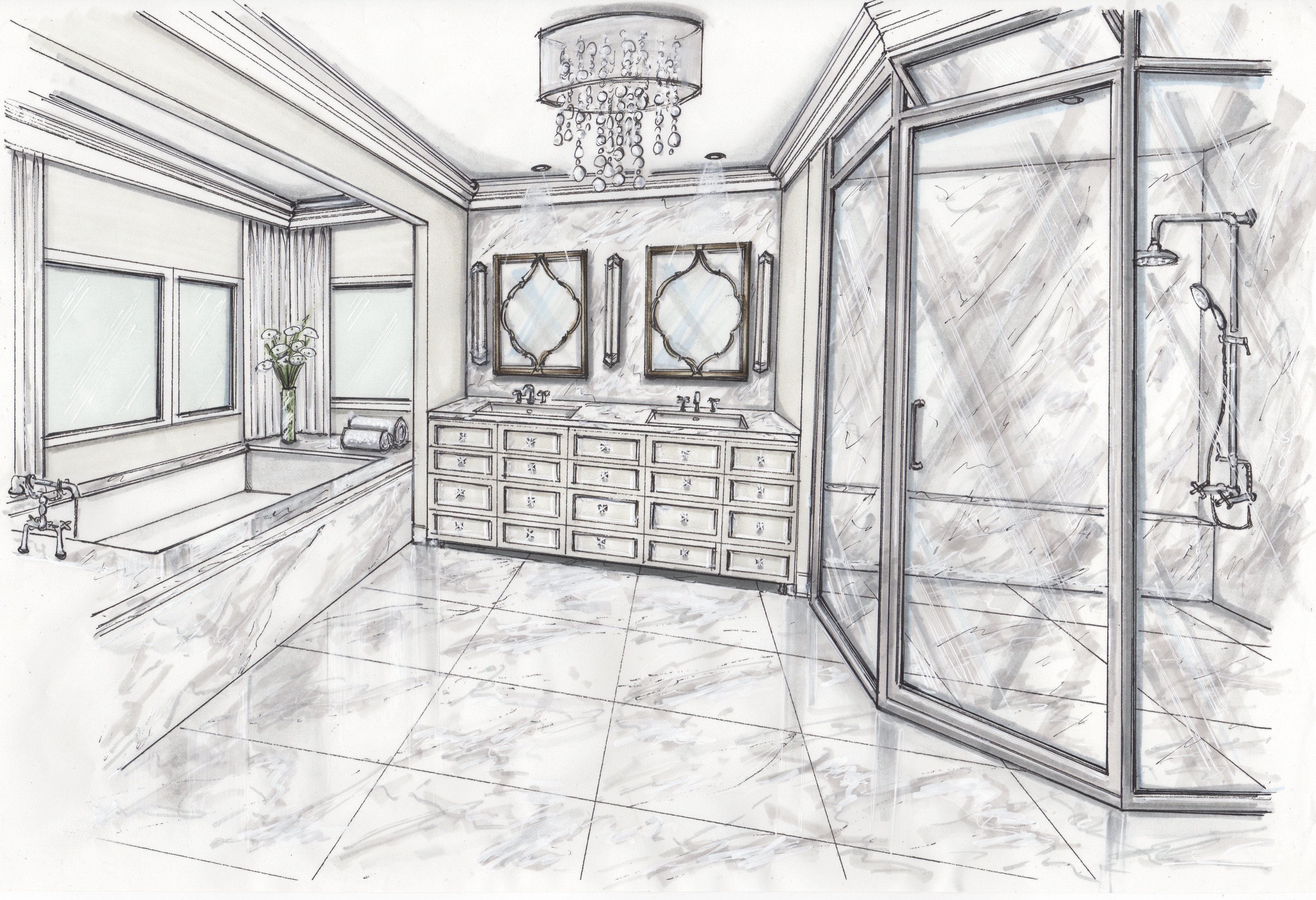 PRIVATE RESIDENCE WITH ENGLISH ANTIQUES | MASTER BATHROOM